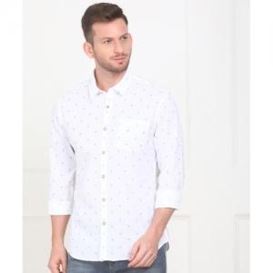 Flying Machine White Cotton Printed Casual Shirt