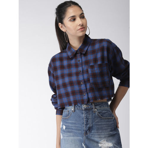 FOREVER 21 Women Blue & Black Regular Fit Checked Casual Shirt