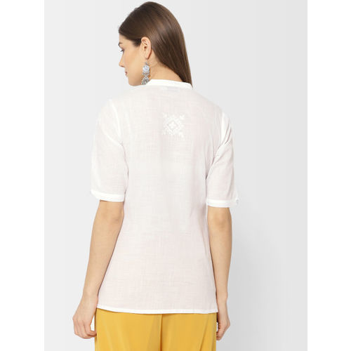 Fabindia Women White Regular Fit Embroidered Casual Shirt