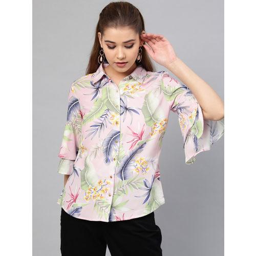Athena Women Pink & Green Regular Fit Printed Casual Shirt