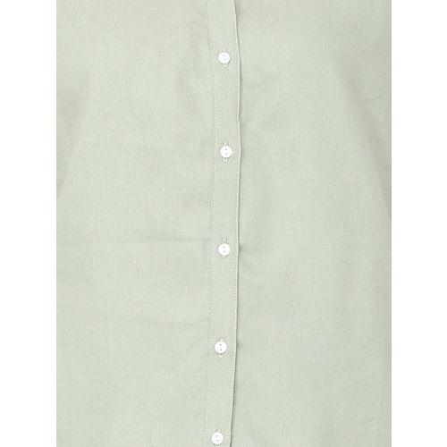 Van Heusen Woman Olive Green Regular Fit Solid Casual Shirt