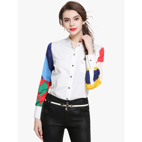 JC Collection Women White Printed Casual Shirt