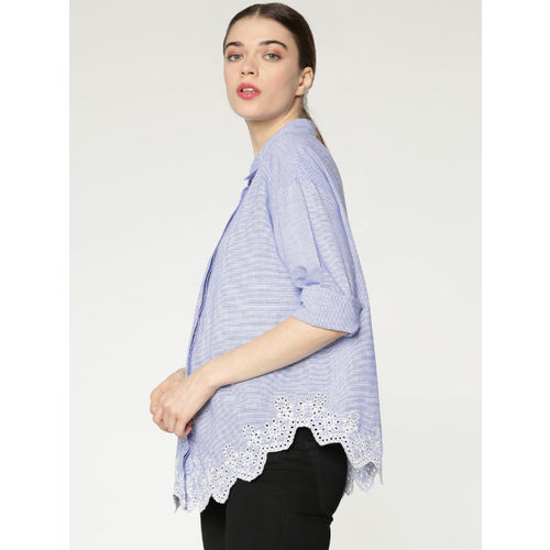 ONLY Women Blue & White Regular Fit Striped Casual Shirt