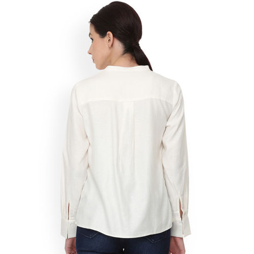 Van Heusen Woman Off-White Regular Fit Solid Casual Shirt