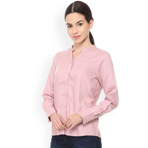 Van Heusen Woman Pink Regular Fit Solid Casual Shirt