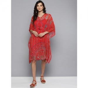 Label Ritu Kumar Women Red Printed Kaftan Dress with Camisole