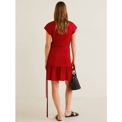 MANGO Women Red Solid Wrap Dress