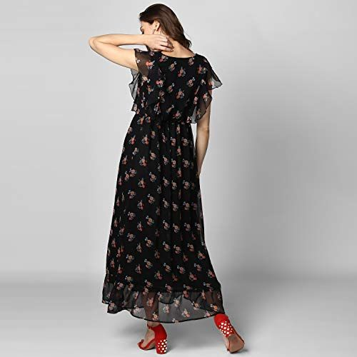 StyleStone Women's Black Printed Maxi Dress with Lining
