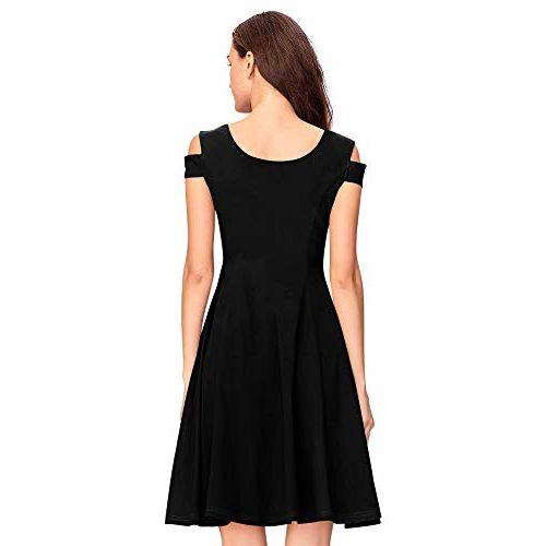 ILLI LONDON Black Solid Cold Shoulder Skater Dress