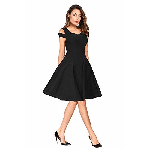 ILLI LONDON Black Solid Cold Shoulder Skater Dress