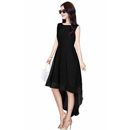 Trendz Creation Black Georgette  Designer Readymade Skater Dress