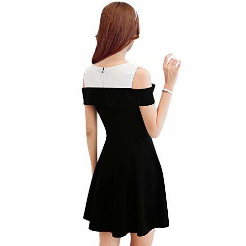 ILLI LONDON Women's Knee Length ONE Piece Off Shoulder Skater Designer Dress