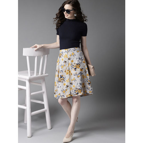 HERE&NOW Women Grey & Navy Blue Floral Print A-Line Skirt