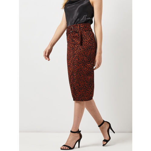 DOROTHY PERKINS Women Black & Rust Orange Printed Midi Pencil Skirt