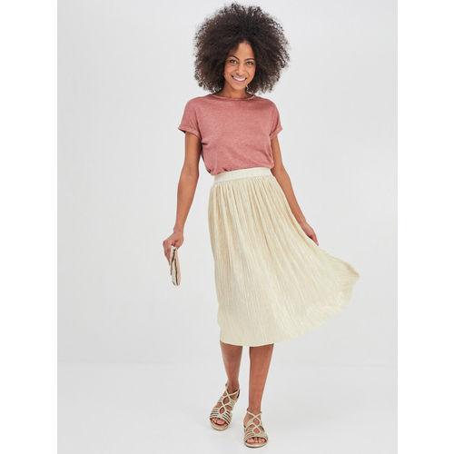 Promod Women Gold-Coloured Shimmery Flared Skirt