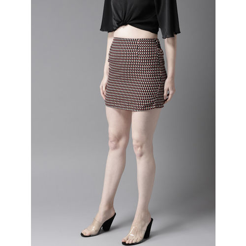 HERE&NOW Women Black & Red Printed Straight Mini Skirt