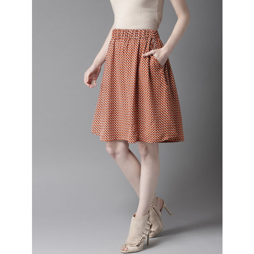 HERE&NOW Women Orange & Brown Printed A-Line Skirt