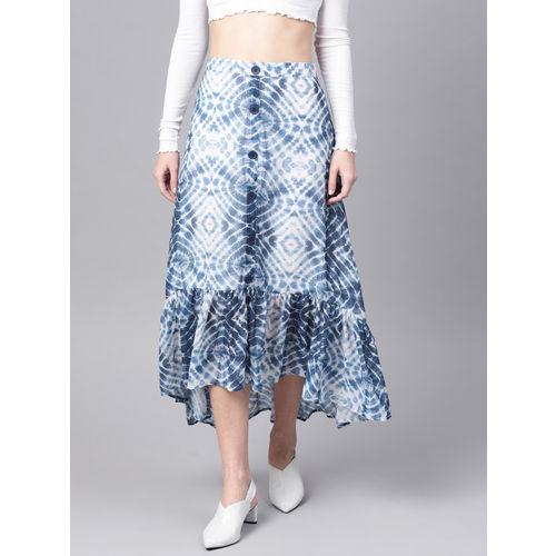 SASSAFRAS Women White & Blue Printed Midi A-Line Skirt