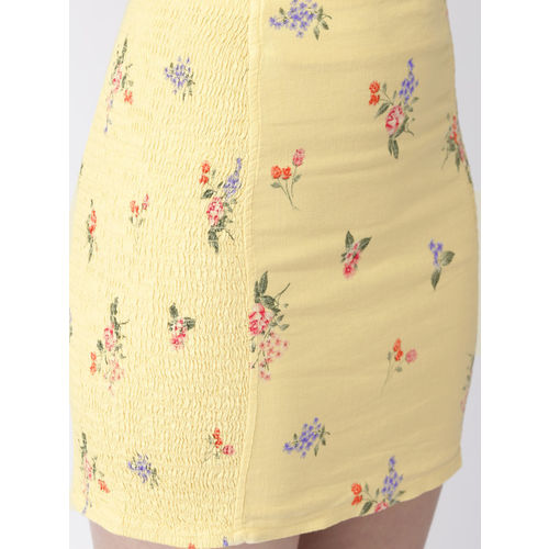 FOREVER 21 Women Yellow Printed Straight Mini Skirt