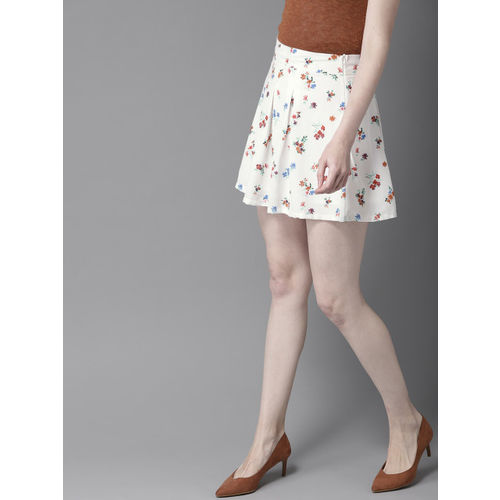HERE&NOW Women White & Rust-Brown Printed A-Line Mini Skirt
