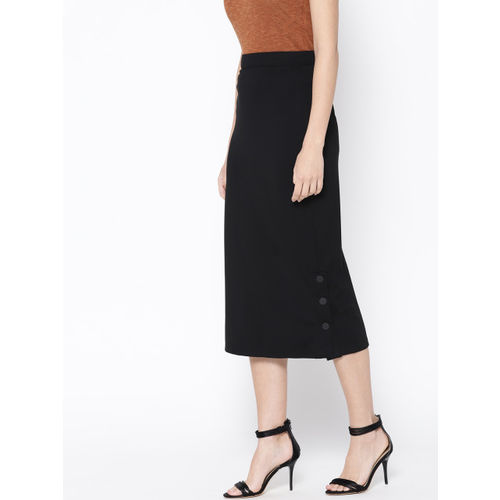 her by invictus Women Black Solid Midi Straight Skirt