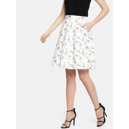 Khwaab Women White Printed Flared Skirt
