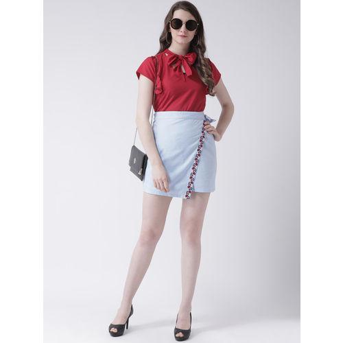 Leo Sansini Women Blue Solid Wrap Mini Skirt