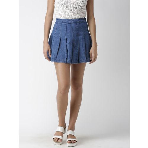 FOREVER 21 Women Blue Solid Denim Mini A-Line Skirt
