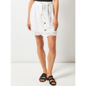 DOROTHY PERKINS Women White Schiffli Embroidered A-Line Skirt