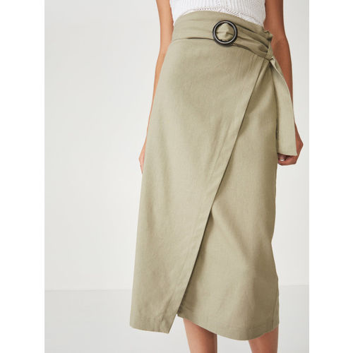 COTTON ON Women Olive Green Solid Wrap Midi Skirt