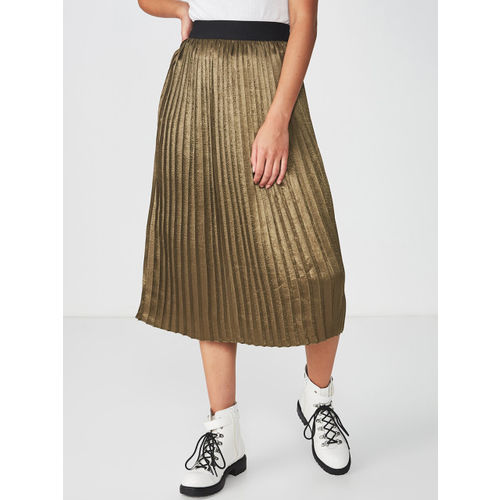 COTTON ON Women Olive Green Solid A-Line Midi Skirt