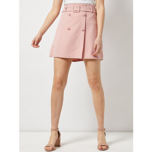 DOROTHY PERKINS Women Dusty Pink Solid Mini A-Line Skirt