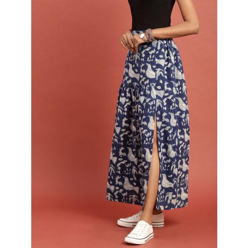 Taavi Women Blue & Off-White Indigo Hand Block Print Maxi Flared Skirt with Gathers & Slit
