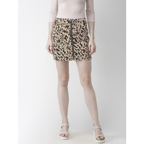 FOREVER 21 Beige & Black Cotton Animal Printed Straight Skirt