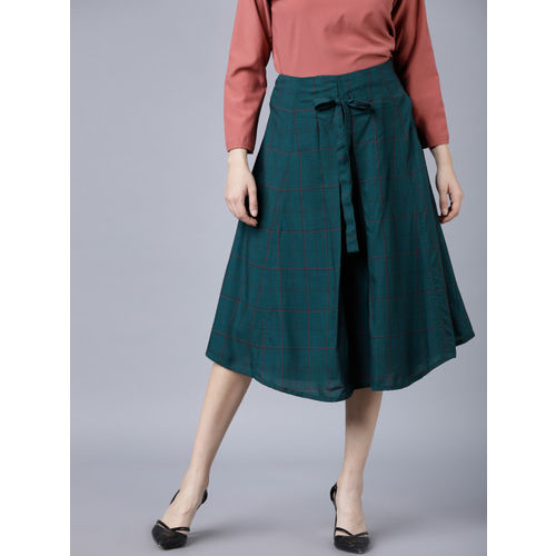 Tokyo Talkies Women Green & Pink Checked A-Line Skirt
