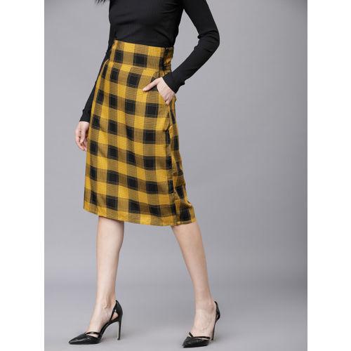 Tokyo Talkies Women Mustard Yellow & Black Checked Straight Skirt