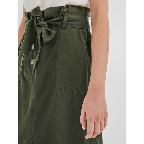 promod Women Olive Green Solid A-line Skirt