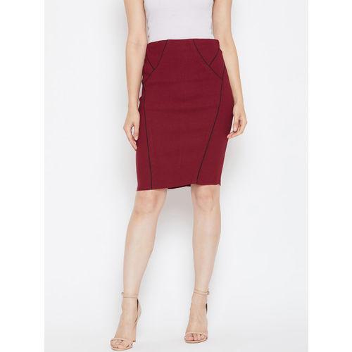 Bitterlime Women Maroon Solid Pencil Skirt