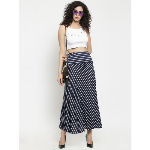 Clora Creation Women Navy Blue & White Striped Flared Maxi Skirt