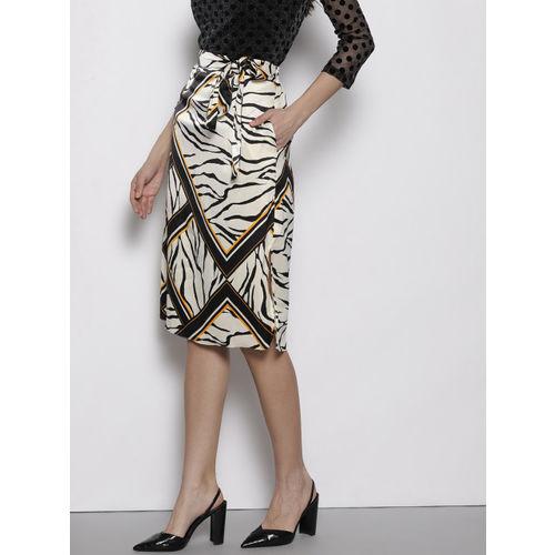 DOROTHY PERKINS Women Off-White & Black Printed Straight Skirt
