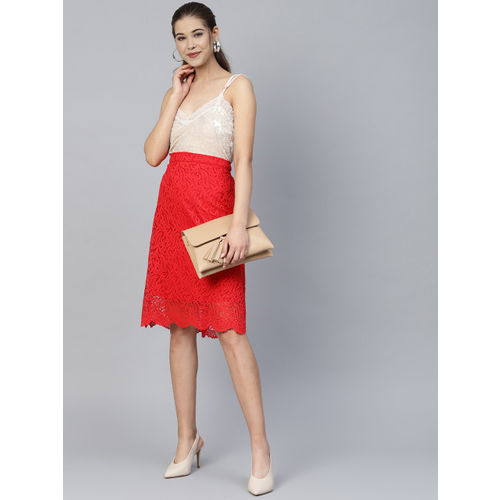 Athena Women Red Lace A-Line Skirt