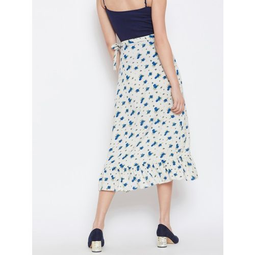 Nun Women Cream-Coloured & Blue Printed Flared Skirt