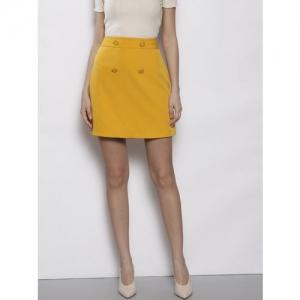 DOROTHY PERKINS Women Mustard Yellow Solid A-Line Skirt