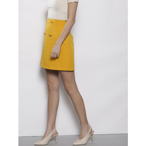 DOROTHY PERKINS Women Mustard Yellow Solid A-Line Skirt