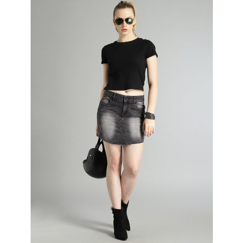 Roadster Black Washed Distressed Straight Skirt