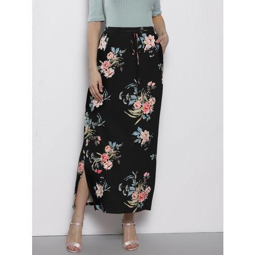DOROTHY PERKINS Women Black & Pink Printed Straight Maxi Skirt