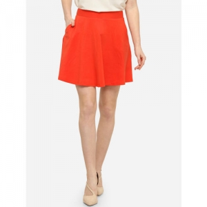 Smarty Pants Women Orange Solid Mini Skater Skirt