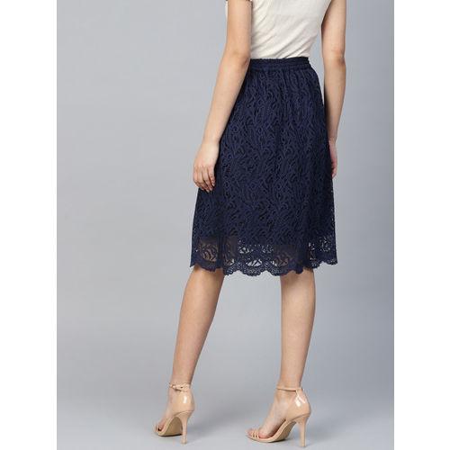 Athena Women Navy Blue Lace A-Line Skirt