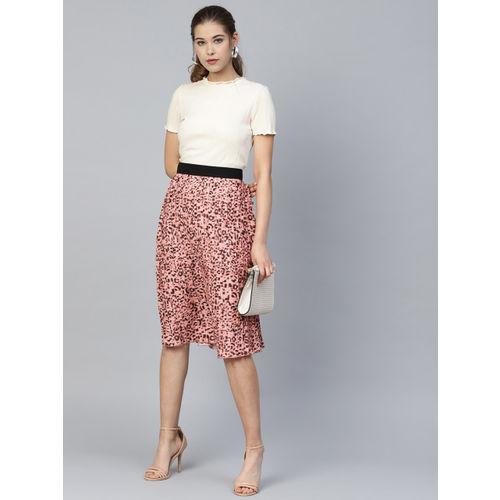 Athena Women Peach-Coloured & Black Animal Print Accordion Pleats A-Line Skirt