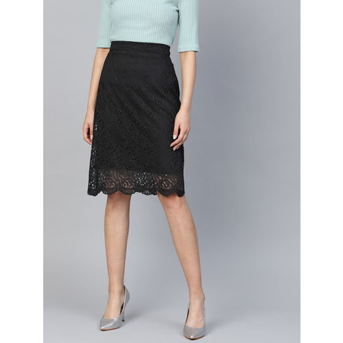Athena Women Black Lace A-Line Skirt
